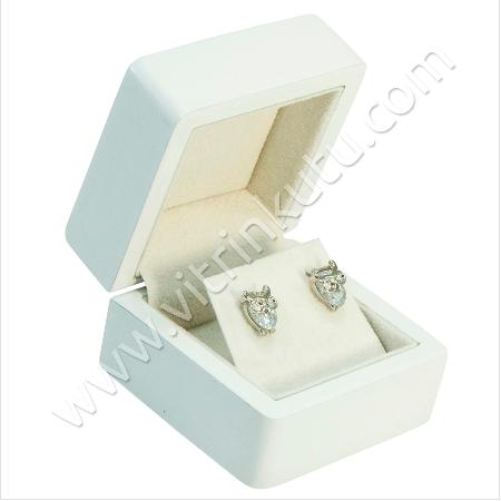 - Küpe Takı Kutusu 6x6 cm Ahşap Beyaz