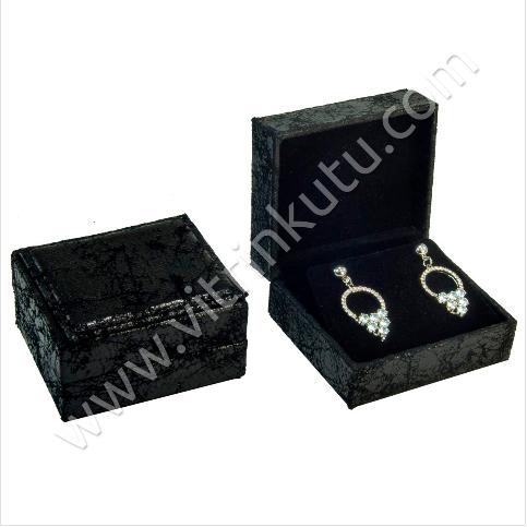 - Deri Küpe Kutusu 6.5x7.5 cm Siyah