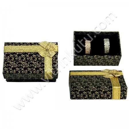 - Karton Kurdeleli Alyans Kutusu Sarmaşık Desenli Siyah üstü Sarı 12'li Paket