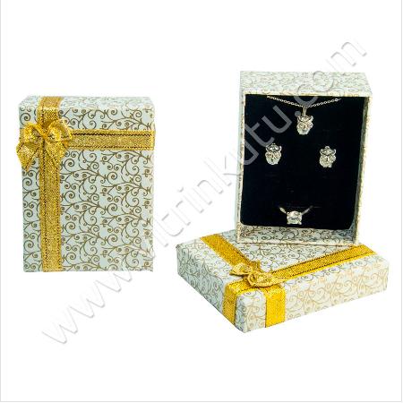 - Kurdelalı Üçlü Takım Set Kutusu 10x13 cm 12'li Paket