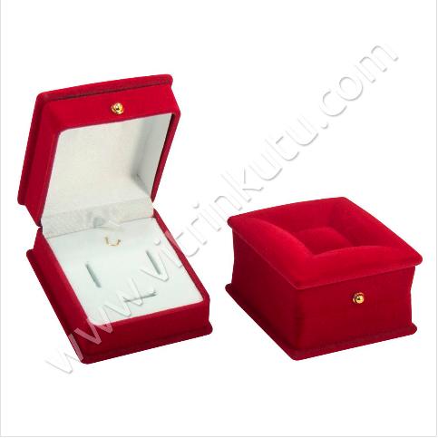 - Lahit Üçlü Takım Set Kutusu 5x7 cm Kadife Flok Kırmızı