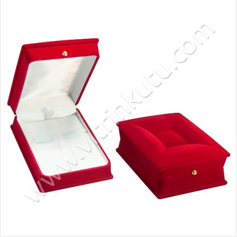 - Lahit Üçlü Takım Set Kutusu 7x5 cm Flok Kırmızı