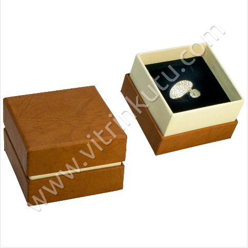 - Lüx Karton Yüzük Kutusu Açık Kahverengi 12' li Paket