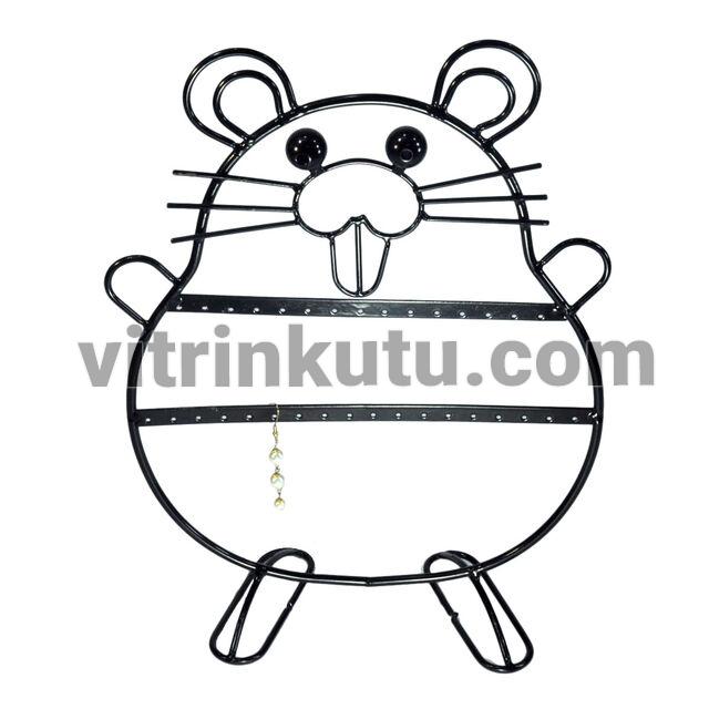 - Metal Küpelik Hamster Figürlü Siyah