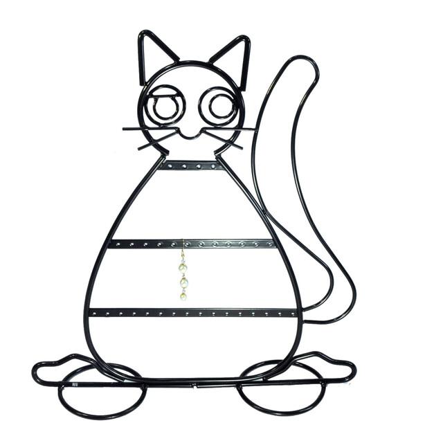- Metal Küpelik Kedi Figürlü Siyah