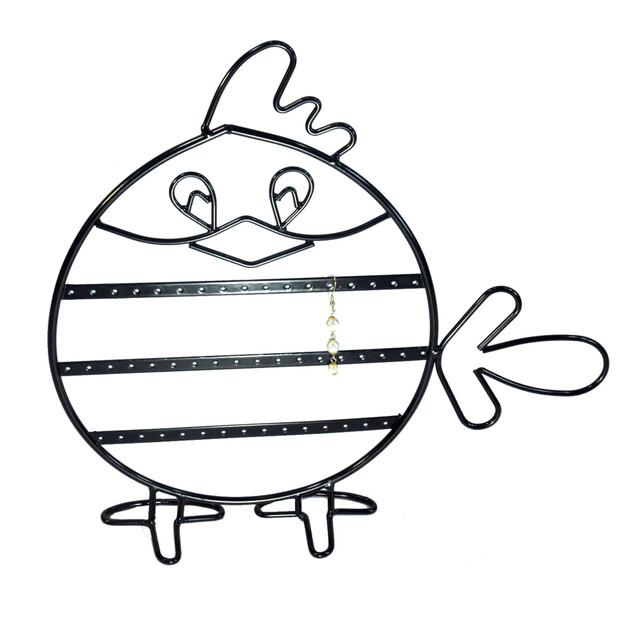 - Metal Küpelik Kuş Figürlü Siyah