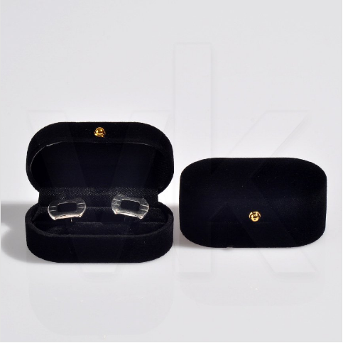 - Oval Kol Düğmesi Kutusu 7.5x4 cm Kadife Flok