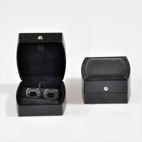 - Oval Kol Düğmesi Kutusu 7x7 cm Siyah Deri