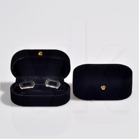 - Oval Kol Düğmesi Kutusu 7.5x4 cm Kadife Flok Siyah