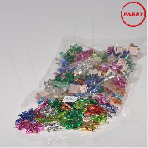 - Paket Süsü Hediyelik 100'lü Paket Metalik Renkler Yıldız Rafya