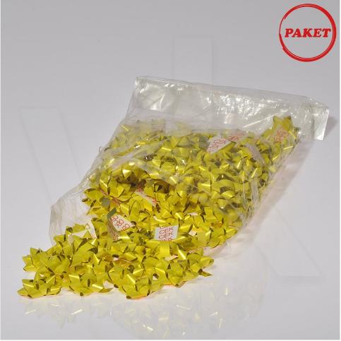 - Paket Süsü Hediyelik 100'lü Paket Sarı Renkli Yıldız Rafya