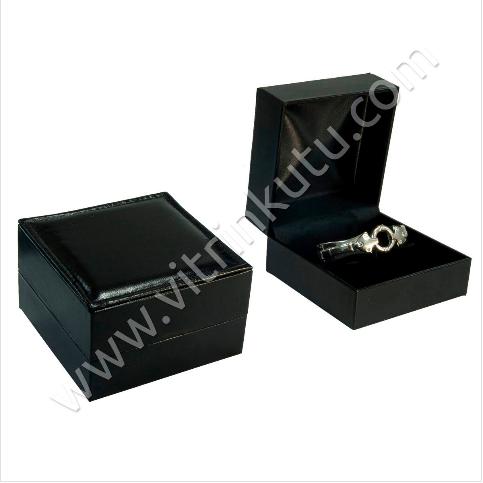 - Rugan Kelepçe Bilezik Kutusu 10x10 cm Yatıklı Siyah
