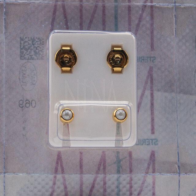 - Steril Kulak Delme Küpesi 12 Çift Nina Altın İnci Beyaz