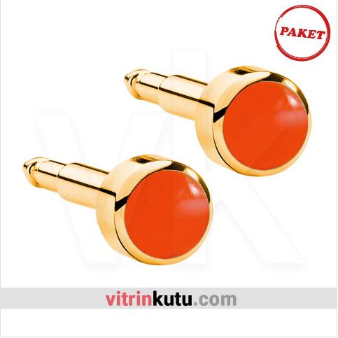 - Steril Kulak Delme Küpesi 12 Çift Nina Altın İnci Kırmızı