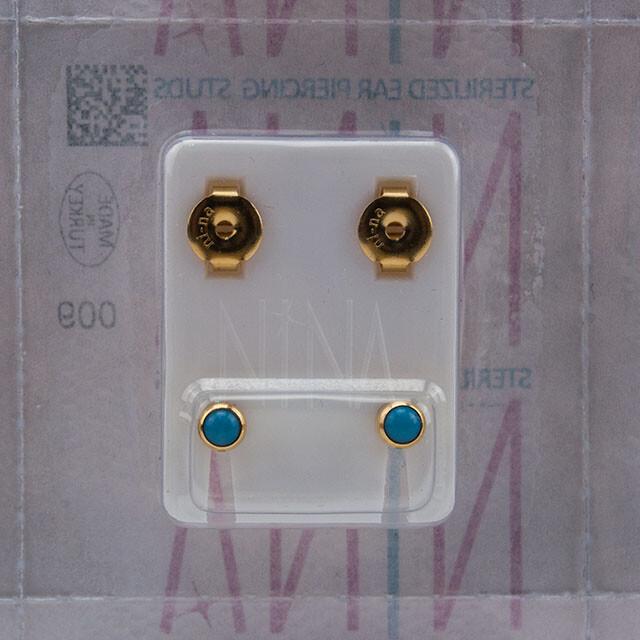 - Steril Kulak Delme Küpesi 12 Çift Nina Altın İnci Mavi