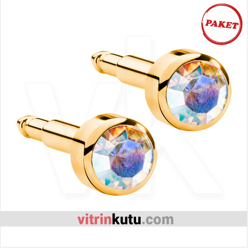 - Steril Kulak Delme Küpesi 12 Çift Nina Altın Renk Kaya Kristal Taş