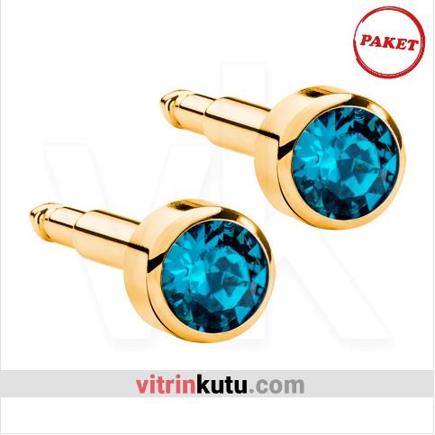 - Steril Kulak Delme Küpesi 12 Çift Nina Altın Renk Safir Taş