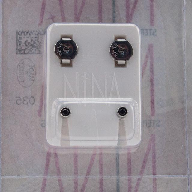 - Steril Kulak Delme Küpesi 12 Çift Nina Beyaz Mini Siyah Taş