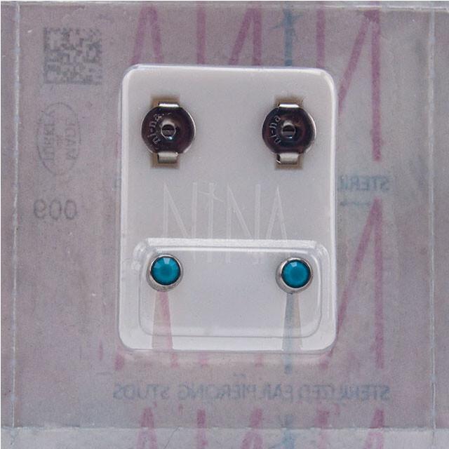 - Steril Kulak Delme Küpesi 12 Çift Nina Çelik İnci Mavi