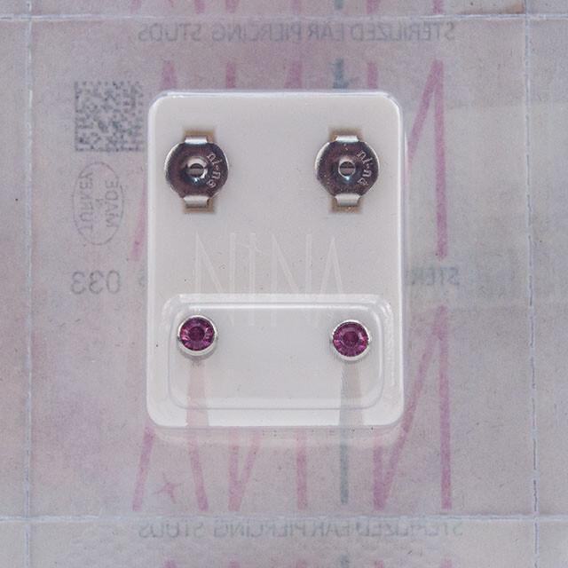 - Steril Kulak Delme Küpesi 12 Çift Nina Çelik Renk Roz Taş