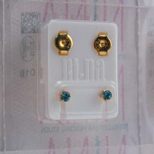 - Steril Kulak Delme Küpesi 12 Çift Tırnaklı Nina Altın Akuamarin