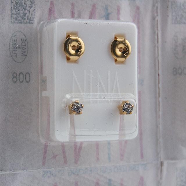 - Steril Kulak Delme Küpesi 12 Çift Tırnaklı Nina Altın Kristal