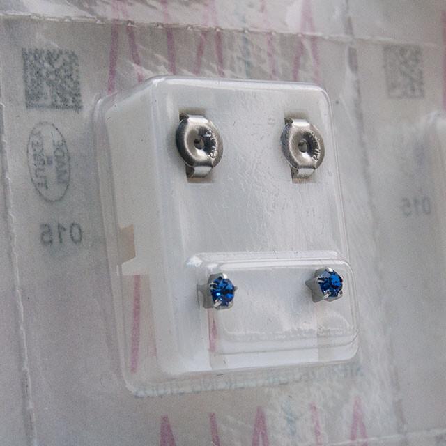 - Steril Kulak Delme Küpesi 12 Çift Tırnaklı Nina Çelik Sapphıre