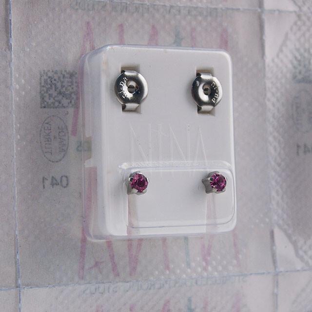 - Steril Kulak Delme Küpesi 12 Çift Tırnaklı Nina Çelik Açık Roz