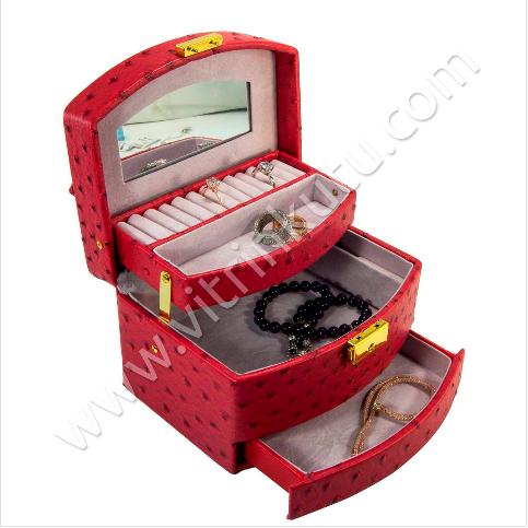 - Takı Kozmetik Organizer Kilitli Seyahat Düzenleyici Çanta Kırmızı