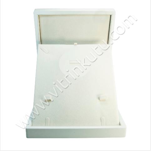 - Ahşap Set Takı Kutusu 22x26 cm Büyük Beyaz Cilalı