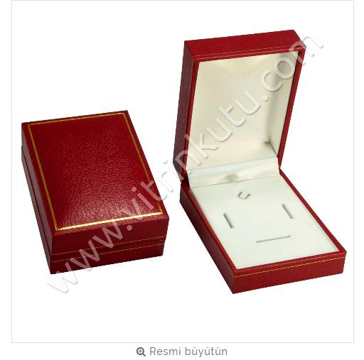 - Üçlü Set Kutusu 7.5x10.5 cm Deri Kartier Kırmızı