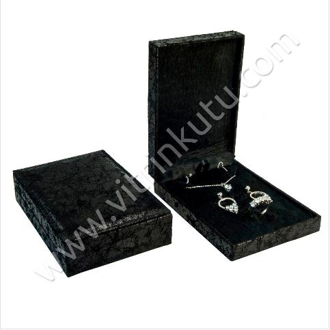- Üçlü Set Takı Kutusu 10.5x15 cm Siyah Çatlak Deri