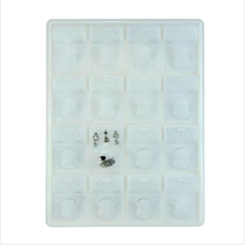 - Üçlü Set Takı Tablası 32x25 cm Plastik Beyaz