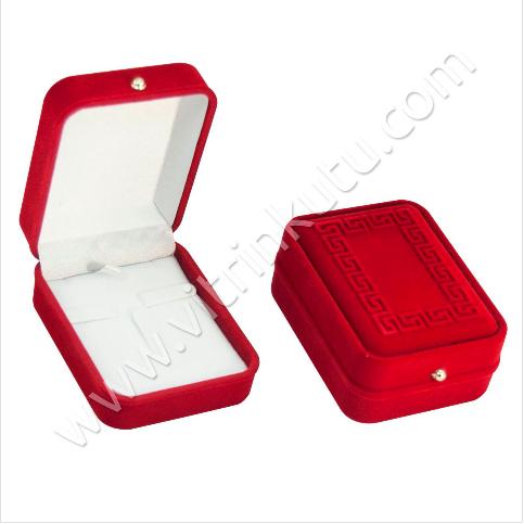- Üçlü Set Takım Kutusu 7x9 cm Nakışlı Flok Kırmızı