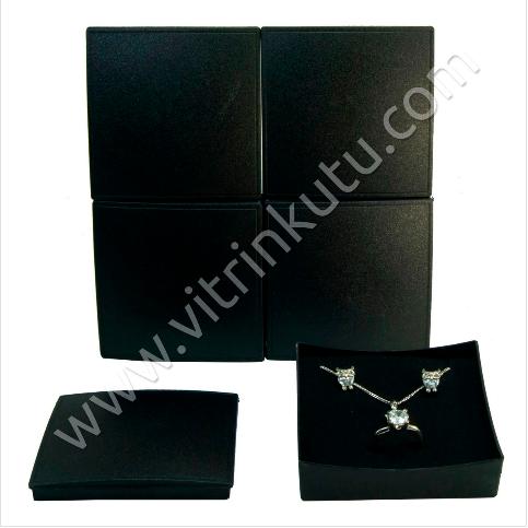 - Üçlü Takım Set Kutusu 8x8 cm Plastik Siyah 12'li Paket