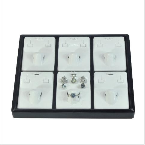 - Üçlü Takım Set Tablası 22x18 cm Plastik Siyah Beyaz