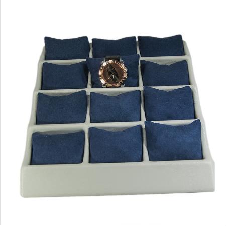 - Yastıklı Saat Bileklik Standı 12 Bölmeli Krem Plastik