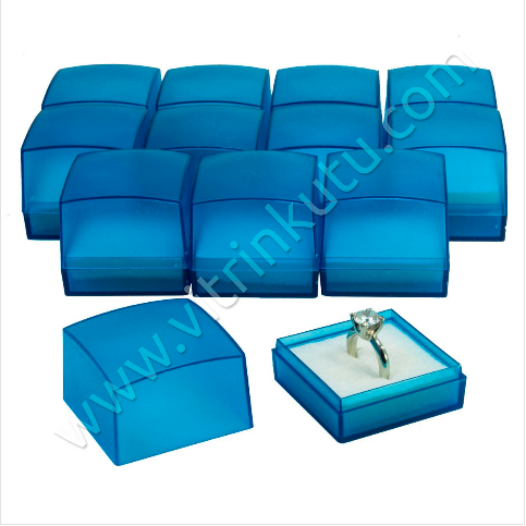 - Yüzük Kutusu Plastik 4x4 cm Turkuaz 24'lü Paket